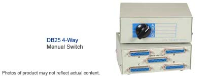 Manual Data Switch Box DB Female Port Usually Works For - 4 way switch how it works