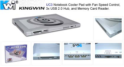 FNS-NB-UC3 System Cooling Fan (Notebook Cooler Pad) Kingwin UC3