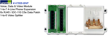 Leviton # 47606-BNP for. Structured Media Center 1-to-7 4-Line Phone  Expansion 6x RJ45 / IDC-110 C5e Data Patch 1-to-6 Video Splitter