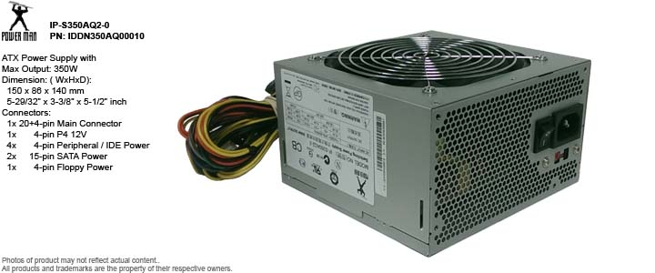 ATX Power Supply - Power Man IP-S350AQ2-0 PN: IDDN350AQ00010