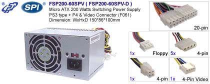 Micro ATX Switching Power Supply PS3 type - FSP (Fortron Source ...