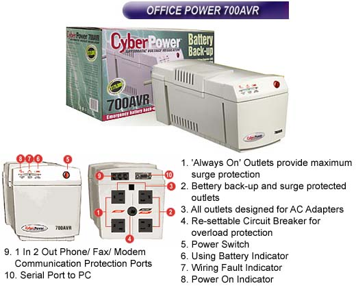 UPS-CP-AVR-0700 - CyberPower UPS (Cyber Power Battery Backup